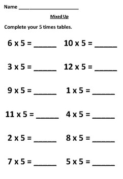 Practice Your 5 Times Tables