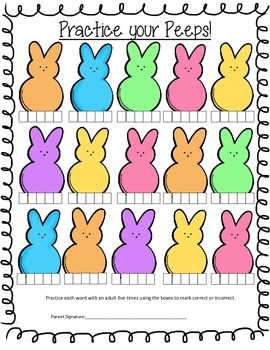 Practice Your Peeps Open Ended Activity Sheet