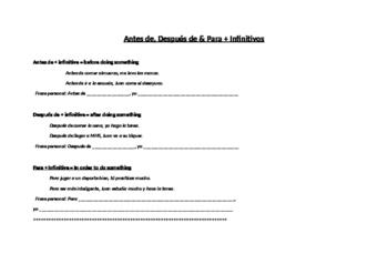 Practice and Conversation: Antes de, Después de & Para with Infinitives
