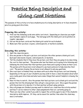 Practice being descriptive and giving directions picture cards