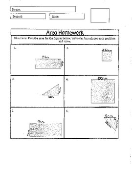 Practice for Area of Square, Rectangle, and Triangle