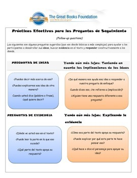 Practice in follow up questions in Spanish (based on Great Books in Spanish)