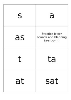 Practice letter sounds and blending (a-s-t-p-m)