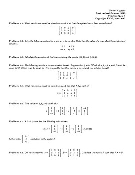 Practice quiz for linear algebra