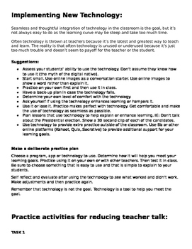 Practice stations- Reduce Teacher Talk time and Using Technology