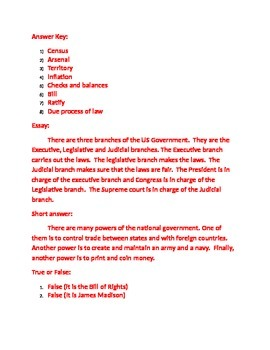 Practice test for the Constitution