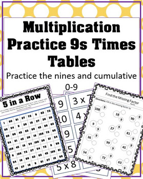 Practice the Nines Multiplication Support Mini Pack