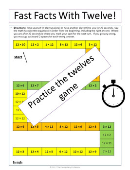 Practice the Twelves Multiplication Support Mini pack