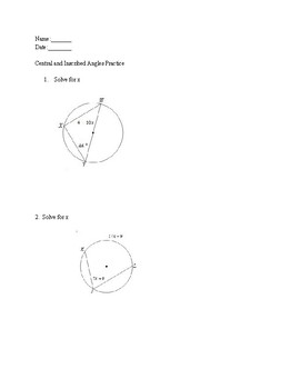 Practice using Central and Inscribed Angle