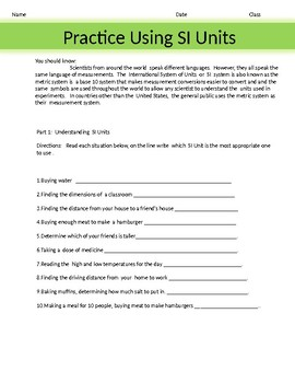Practice using  SI System Worksheet 1