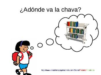"""Practice """"va"""" in town and in school! Spanish 1 lesson, qui"""