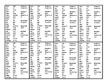 Practice verb conjugation with beginner Uno / 3 sets for stations
