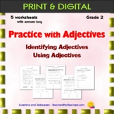Practice with Adjectives - 5 worksheets & answer key - Grade 2 - CCSS