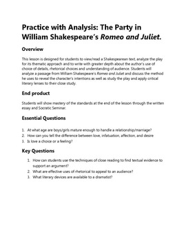 Practice with Analysis: The Party in William Shakespeare's Romeo and Juliet.