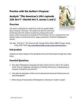 Practice with Author's Purpose- Hamlet with This American Life, Act V