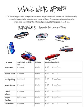 Practice with Calculations: Speed