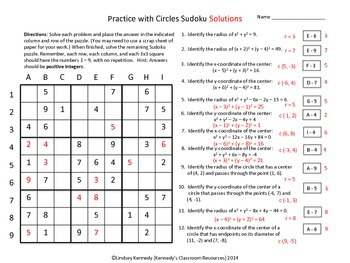 Finding the Radius and Center of a Circle - Sudoku