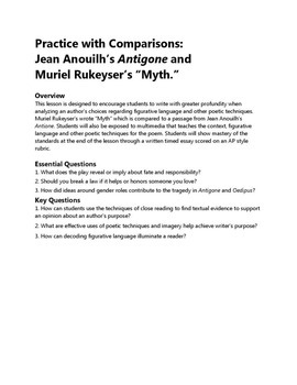 """Practice with Comparisons: Jean Anouilh's Antigone and Muriel Rukeyser's """"Myth."""""""