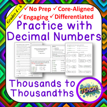 Practice with Decimal Numbers - Thousands to Thousandths