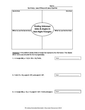 Practice with Law of Sines and Law of Cosines - Worksheet | TpT