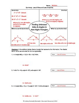 Practice with Law of Sines and Law of Cosines - Worksheet
