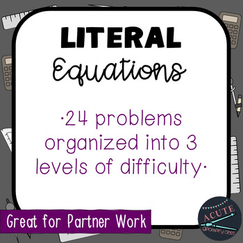 Practice with Literal Equations