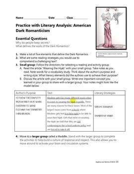 Practice with Literary Analysis: Dark Romantics Poe and Hawthorne