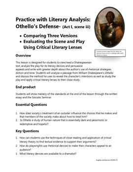 Othello's Defense: Free Practice with Literary Analysis