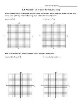Practice with Parabolas (Algebra 2/Pre-Calc) (with Answer Key)