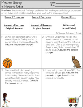 Percent Change Worksheet by The Clever Clover | Teachers Pay Teachers