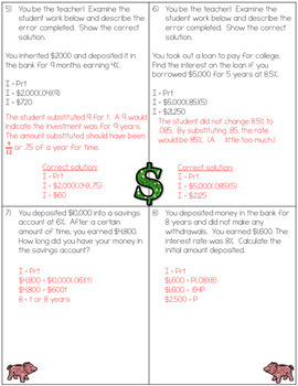 Simple Interest Worksheets -7.RP.3