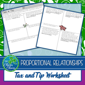Tax and Tip Worksheets- 7.RP.3