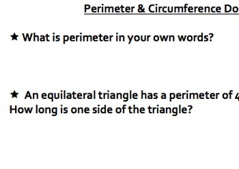 Practice with Perimeter & Circumference