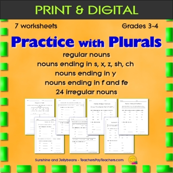 Practice with Plurals - 7 worksheets - Grade 3-4 - Regular & Irregular Nouns