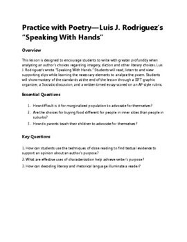 Speaking With Hands by Luis J. Rodriguez: Practice with Poetry