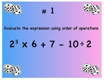 Practice Poker Problems Algebra Game Expressions Equations Exponents Prime