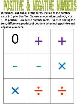 Practice with Positive and Negative Numbers