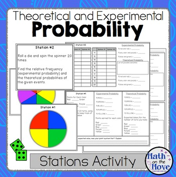 Probability - (Theoretical and Experimental) - Stations Activity (7.SP.C.5)