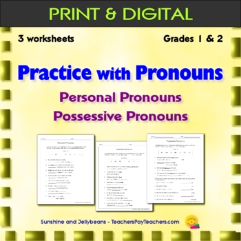 Practice with Pronouns - Personal & Possessive 3 worksheets - Grades 1 & 2 - CCS