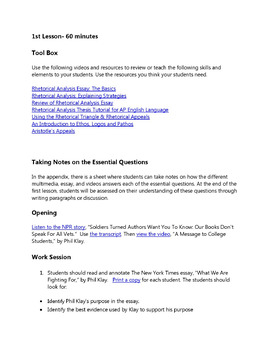 """Practice with Rhetorical Analysis—  Phil Klay's """"What We Are Fighting For"""""""