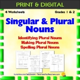 Practice with Singular and Plural Nouns - 4 worksheets - Grades 1 & 2 - CCSS