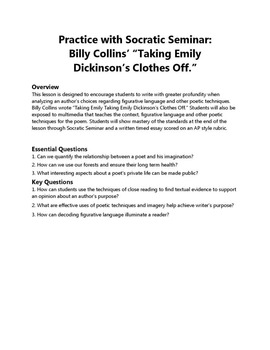 "Practice with Socratic: Billy Collins' ""Taking Emily  Dickinson's Clothes Off."""