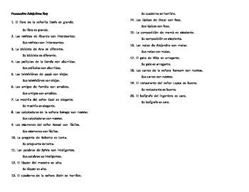 Spanish Grammar: Practice with Possessive Adjectives