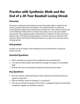 Practice with Synthesis: Math and the End of a 20-Year Baseball Losing Streak