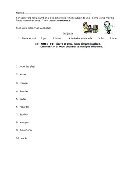 Practice with dice- French -er verbs