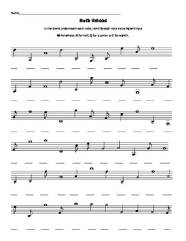 Practice with note values Whole Half Quarter and Eighth