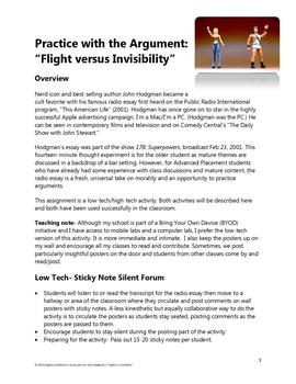 """Practice with the Argument- """"Flight versus Invisibility"""""""
