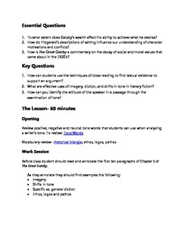 Practice with the Argument- Tone Analysis Prompt for The Great Gatsby