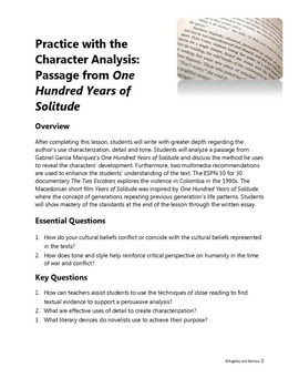 Practice with the Character Analysis: Passage from One Hundred Years of Solitude