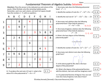 Practice with the Fundamental Theorem of Algebra - Sudoku